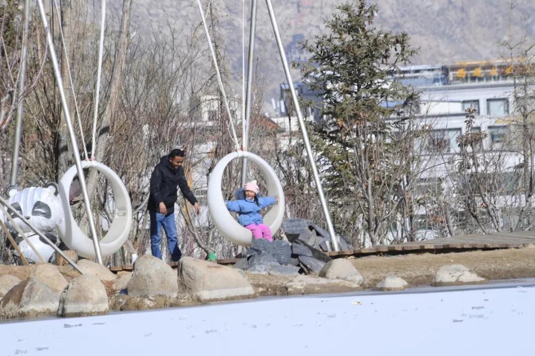 拉萨迎来初雪 经过一晚沉淀 南山公园成为市民游客赏雪的首选之地